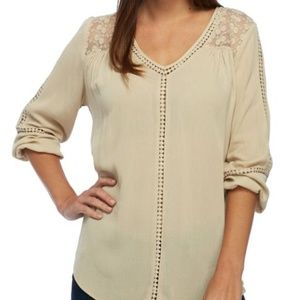 NEW DIRECTIONS Casual Crochet Woven Top size 3X
